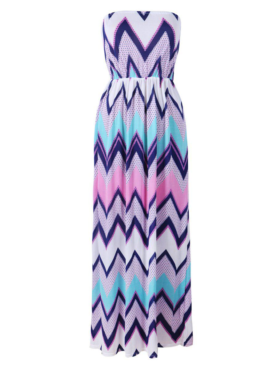 Buy Strapless Zig Zag Beach Maxi Dress
