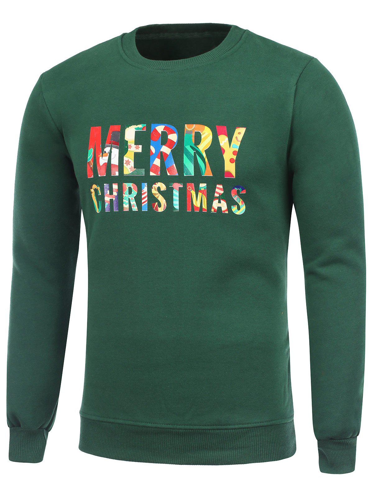 Store Crew Neck Flocking Merry Christmas Green Sweatshirt