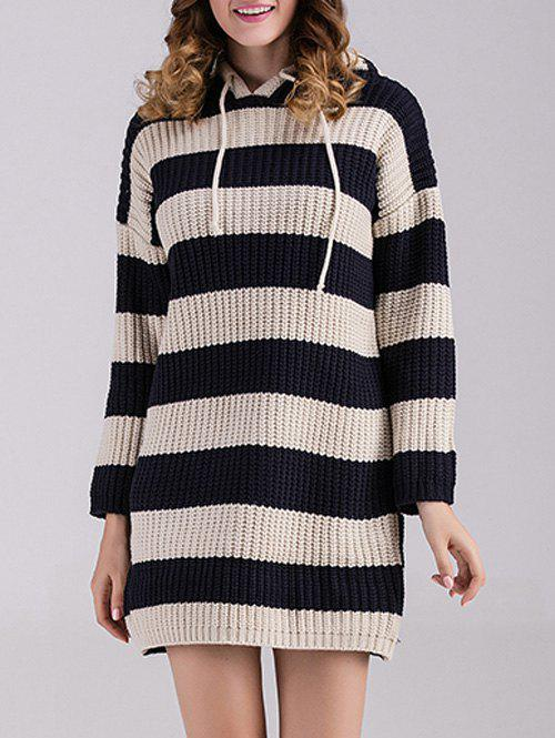 d0ba3eaf472 42% OFF   2018 Striped Sweater Dress With Hoodie In Black One Size ...