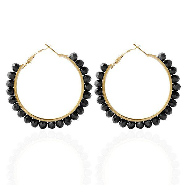 Discount Fake Crystal Bead Hoop Earrings