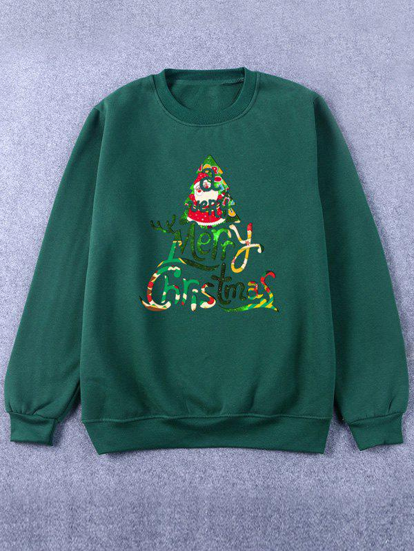 Cheap Printed Crew Neck Christmas Green Sweatshirt