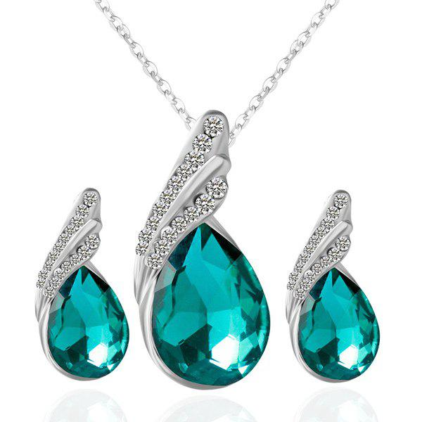 Rhinestone Fake Crystal Teardrop Jewelry SetJEWELRY<br><br>Color: GREEN; Item Type: Pendant Necklace; Gender: For Women; Metal Type: Alloy; Style: Trendy; Shape/Pattern: Water Drop; Length: 48cm; Weight: 0.050kg; Package Contents: 1 x Necklace  1 x Earrings (Pair);