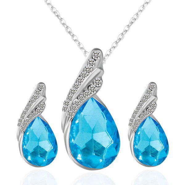 Rhinestone Fake Crystal Teardrop Jewelry SetJEWELRY<br><br>Color: AZURE; Item Type: Pendant Necklace; Gender: For Women; Metal Type: Alloy; Style: Trendy; Shape/Pattern: Water Drop; Length: 48cm; Weight: 0.050kg; Package Contents: 1 x Necklace  1 x Earrings (Pair);