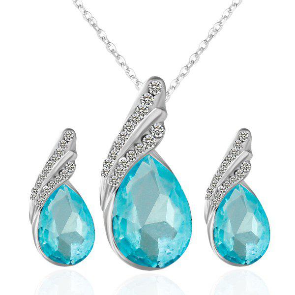 Rhinestone Fake Crystal Teardrop Jewelry SetJEWELRY<br><br>Color: LAKE BLUE; Item Type: Pendant Necklace; Gender: For Women; Metal Type: Alloy; Style: Trendy; Shape/Pattern: Water Drop; Length: 48cm; Weight: 0.050kg; Package Contents: 1 x Necklace  1 x Earrings (Pair);