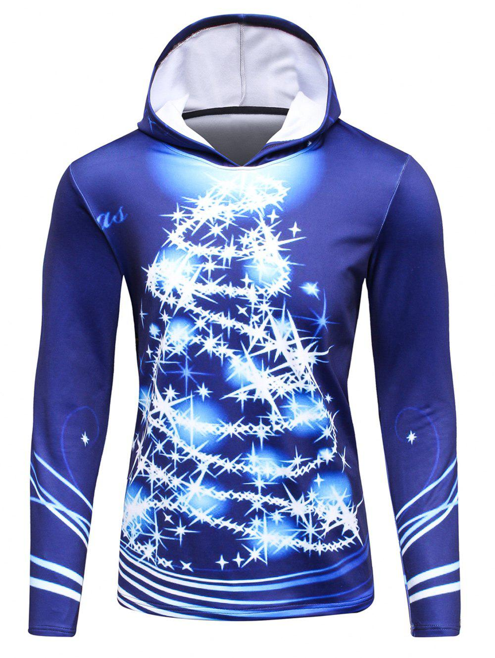 3D Christmas Tree Print Flocking HoodieMEN<br><br>Size: M; Color: BLUE; Material: Cotton,Polyester; Shirt Length: Regular; Sleeve Length: Full; Style: Fashion; Weight: 0.559kg; Package Contents: 1 x Hoodie;