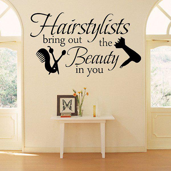 Hairstyle Quote Removable Barbershop Vinyl Wall Stickers CustomHOME<br><br>Color: BLACK; Wall Sticker Type: Plane Wall Stickers; Functions: Decorative Wall Stickers; Theme: Words/Quotes; Material: PVC; Feature: Removable; Size(L*W)(CM): 57*33; Weight: 0.175kg; Package Contents: 1 x Wall Stickers;