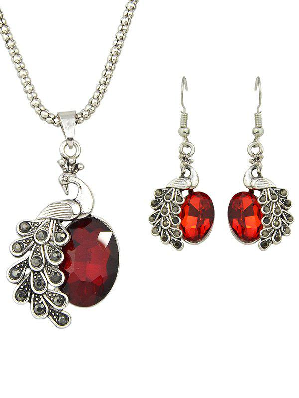 Online Artificial Gem Peacock Necklace and Earrings