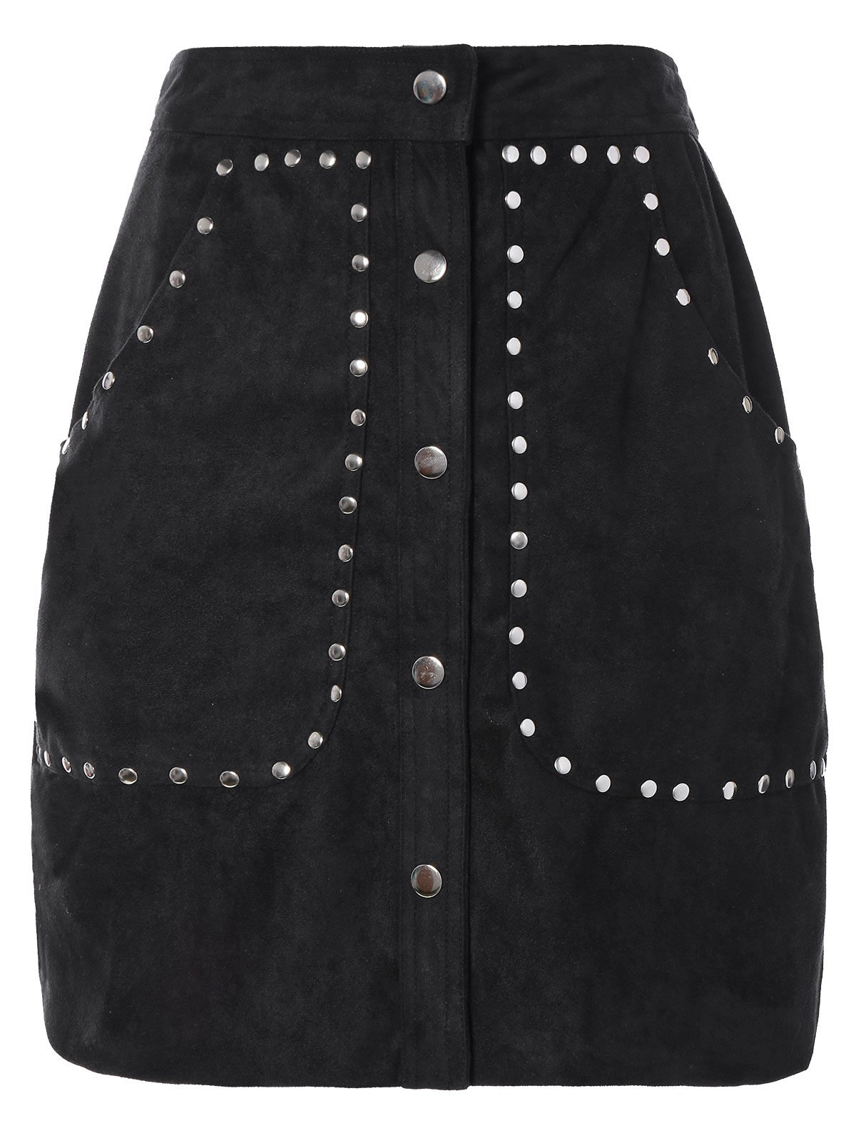 Fashion Rivet Sueded A Line Skirt