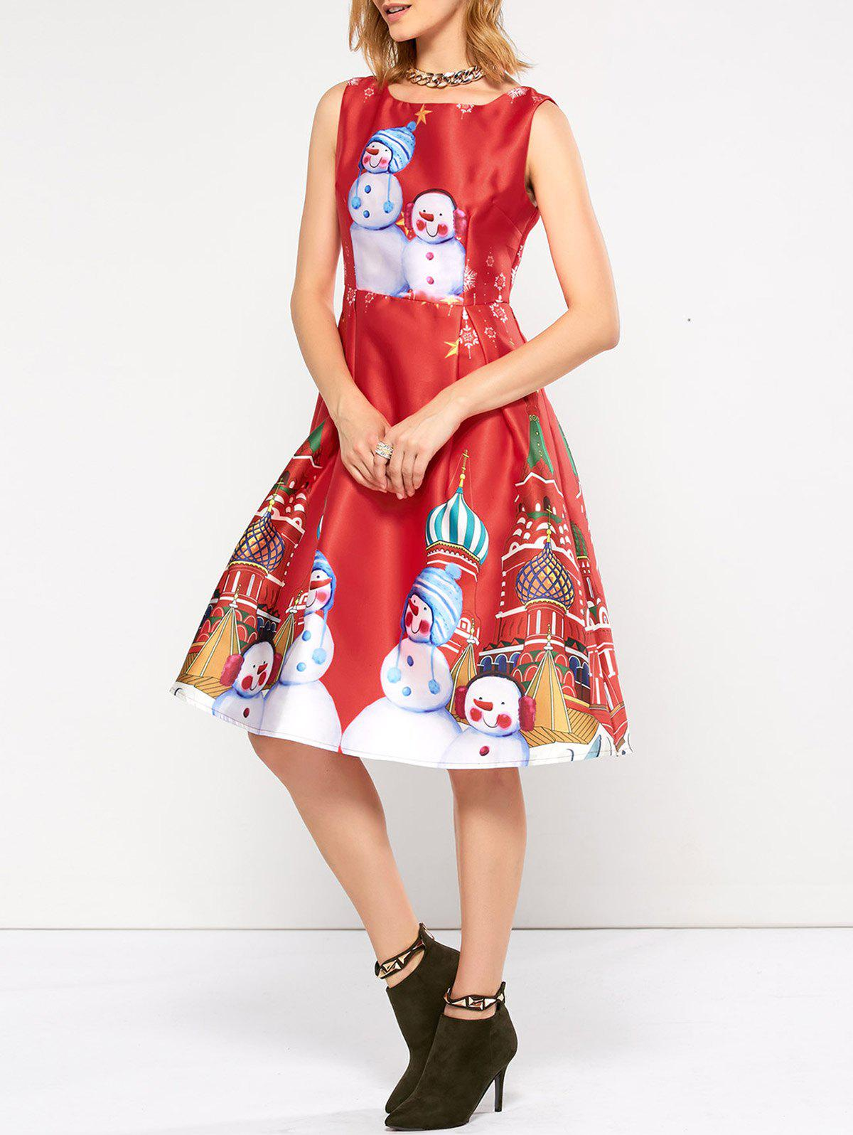 Sleeveless Snowman Christmas Skater Party DressWOMEN<br><br>Size: L; Color: RED; Style: Cute; Material: Polyester; Silhouette: A-Line; Dresses Length: Knee-Length; Neckline: Round Collar; Sleeve Length: Sleeveless; Pattern Type: Character; With Belt: No; Season: Fall,Spring,Summer; Weight: 0.350kg; Package Contents: 1 x Dress;