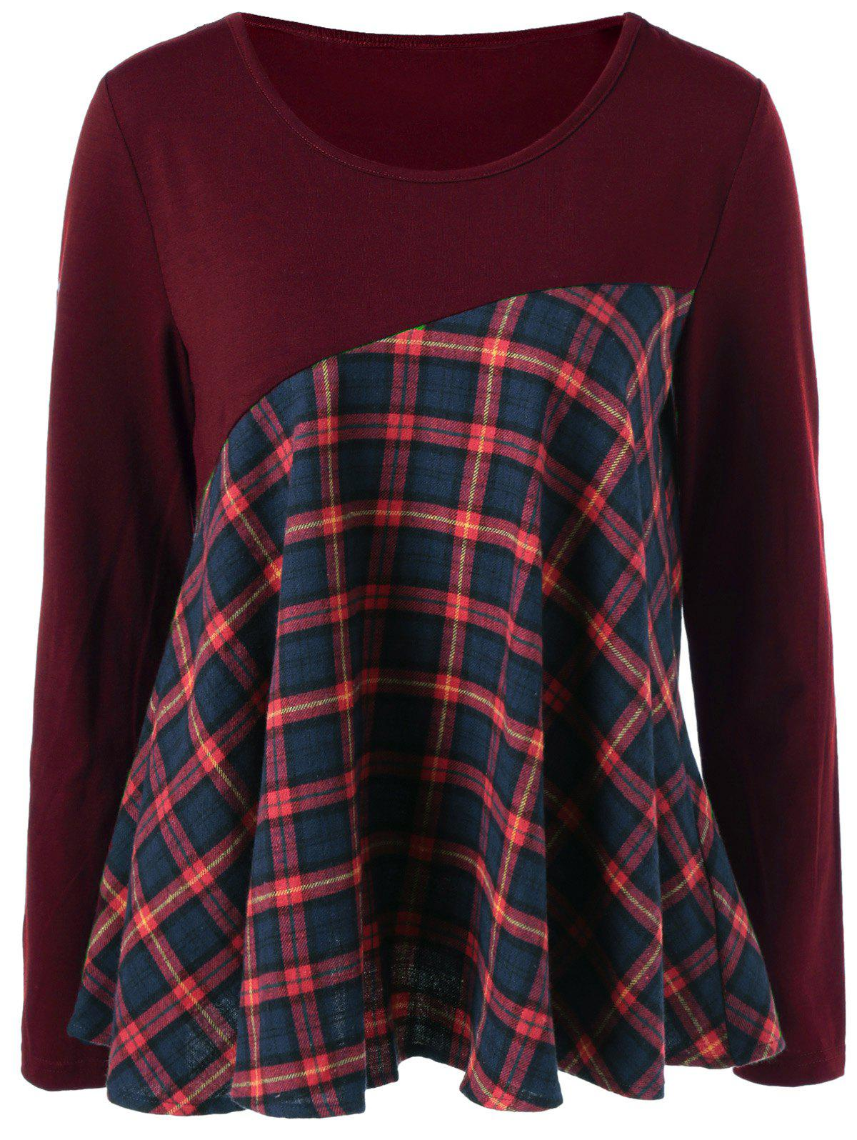 Plaid Trim Elbow Patch BlouseWOMEN<br><br>Size: XL; Color: BURGUNDY; Style: Casual; Material: Cotton Blends,Spandex; Shirt Length: Regular; Sleeve Length: Full; Collar: Scoop Neck; Pattern Type: Plaid; Season: Fall,Spring,Summer; Weight: 0.390kg; Package Contents: 1 x Blouse;