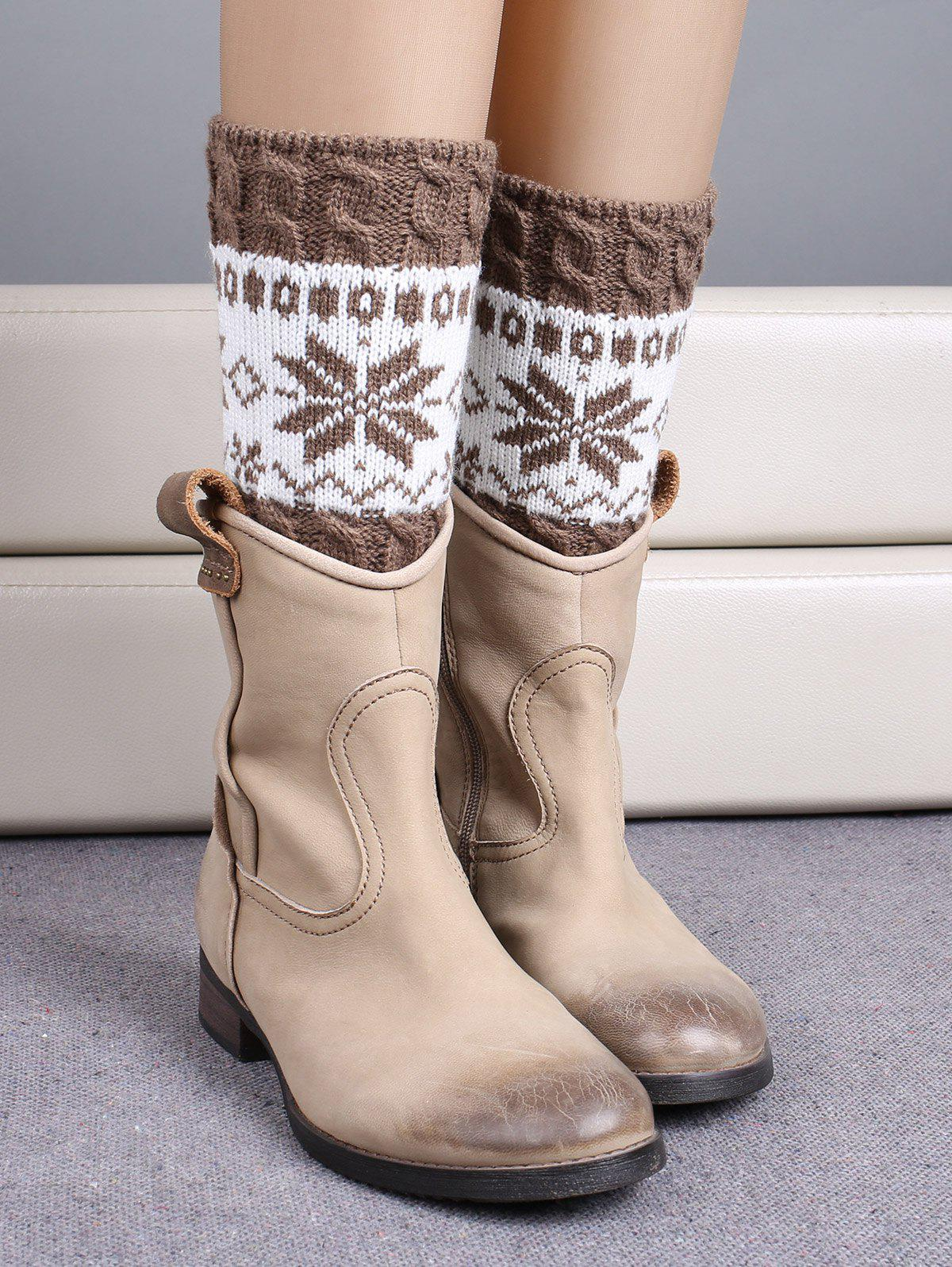 Christmas Snowflake Jacquard Boot CuffsACCESSORIES<br><br>Color: KHAKI; Type: Leg Warmers; Group: Adult; Gender: For Women; Style: Fashion; Pattern Type: Others; Length(CM): 17CM; Weight: 0.080kg; Package Contents: 1 x Boot Cuffs (Pair);