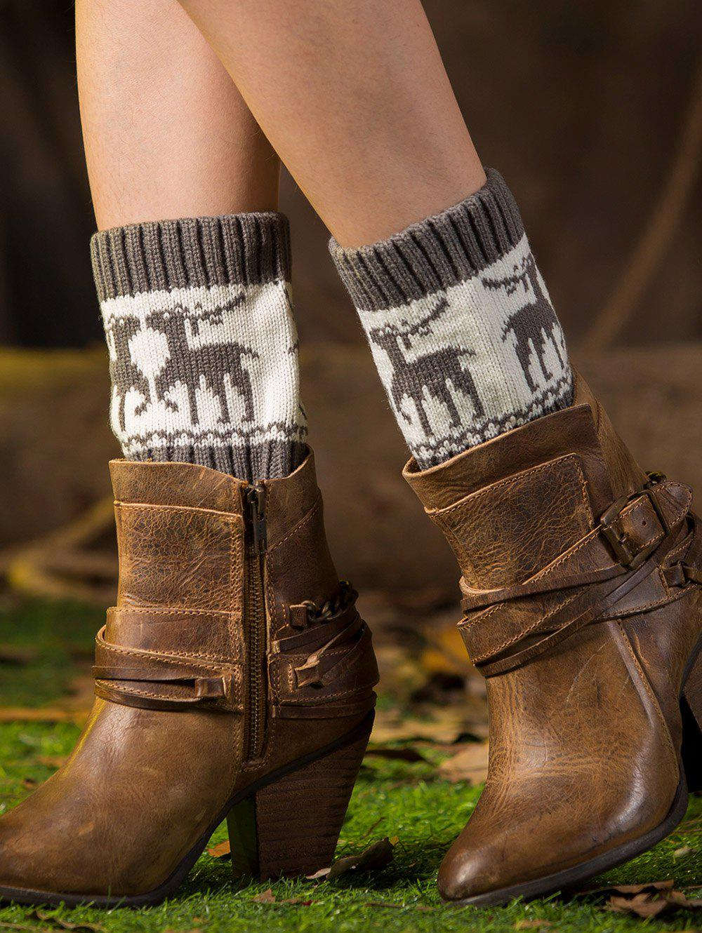 Christmas Deer Jacquard Boot CuffsACCESSORIES<br><br>Color: GRAY; Type: Leg Warmers; Group: Adult; Gender: For Women; Style: Fashion; Pattern Type: Animal; Length(CM): 16.5CM; Weight: 0.080kg; Package Contents: 1 x Boot Cuffs (Pair);