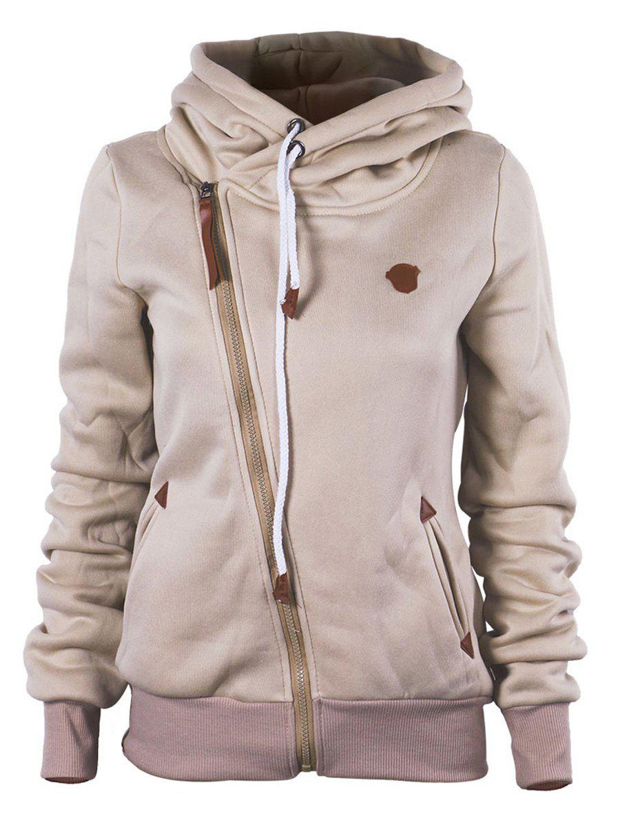 Hot Oblique Zipper Hooded Jacket