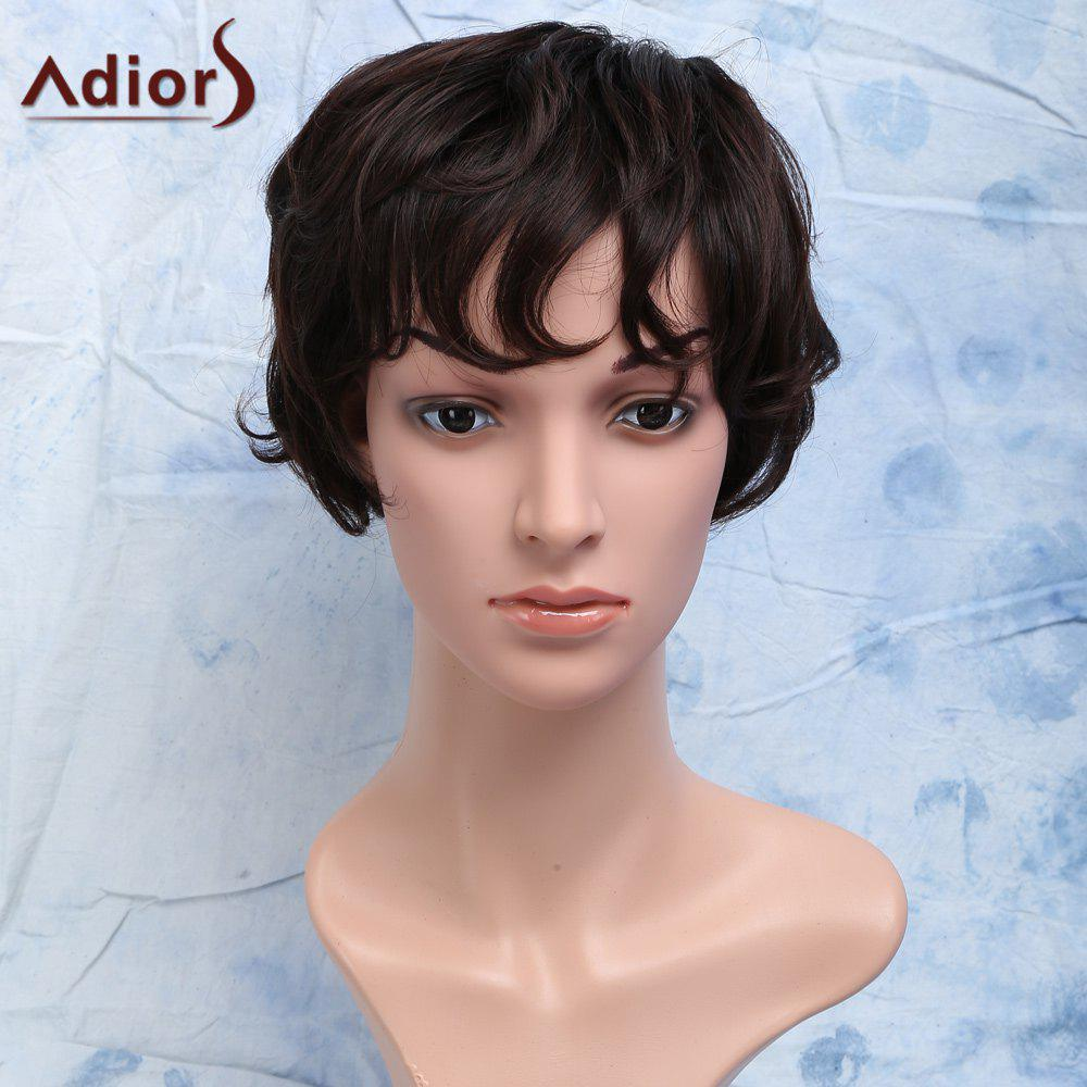Chic Short Curly Heat Resistant Synthetic Side Bang Men's Wig