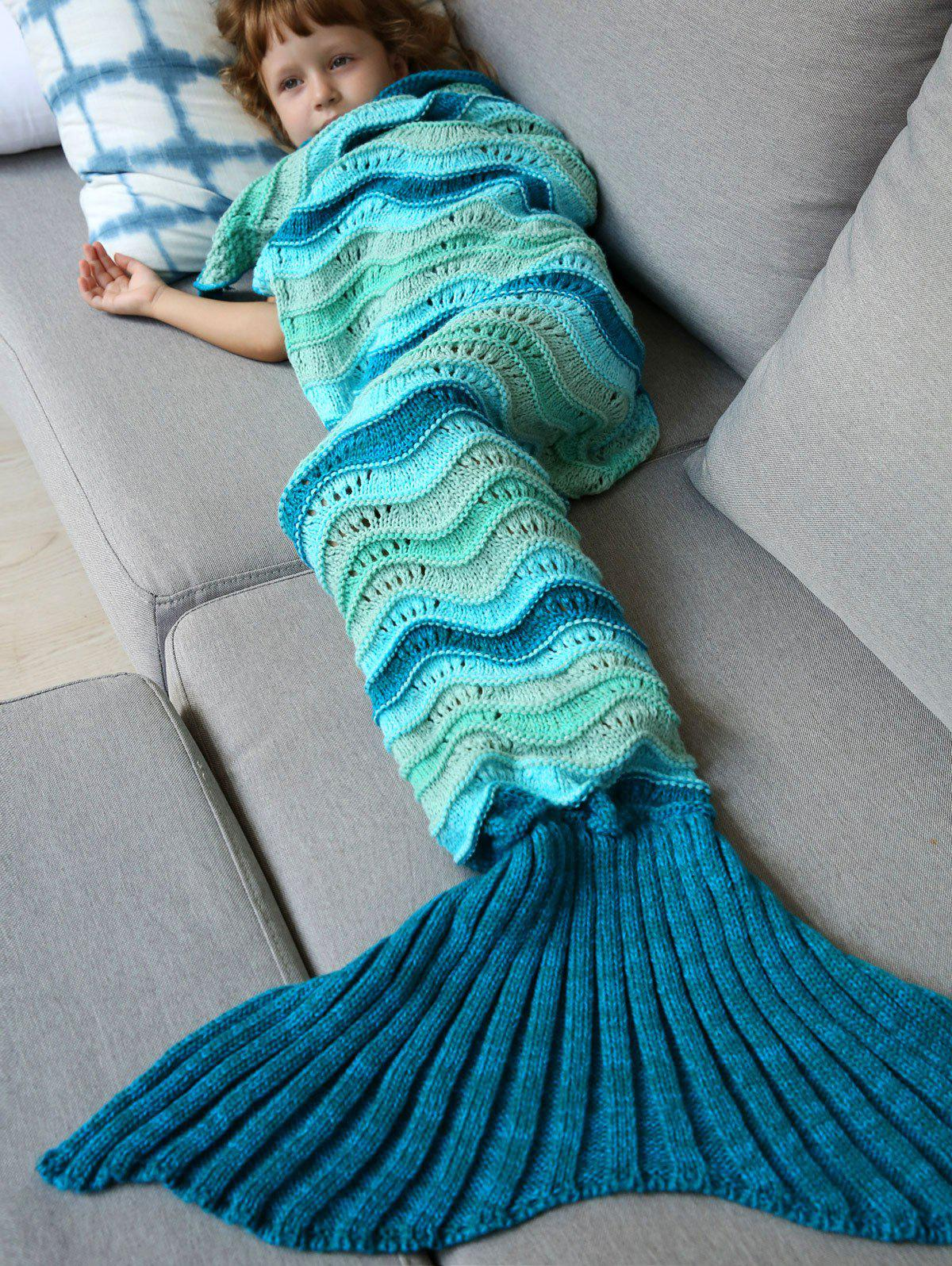 Sale Knitted Open Work Color Splicing Mermaid Blanket and Throws For Kid