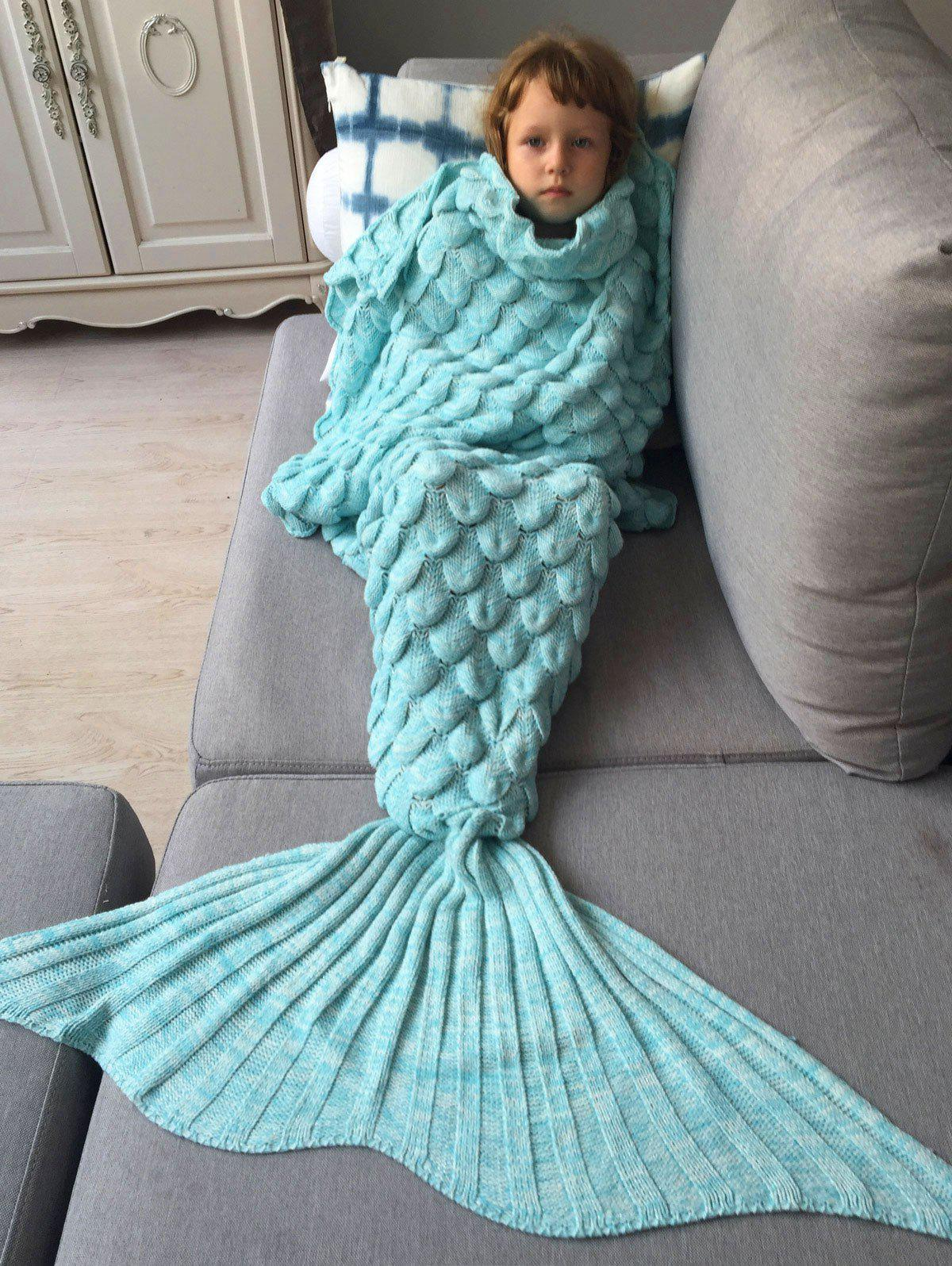 Knitted Fish Scales Design Wrap Mermaid Blanket and Throws For KidsHOME<br><br>Color: AZURE; Type: Knitted; Material: Acrylic; Pattern Type: Stripe; Size(L*W)(CM): 150*80; Weight: 0.756kg; Package Contents: 1 x Blanket;