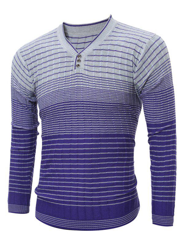 Discount V Neck Striped Ombre Sweater