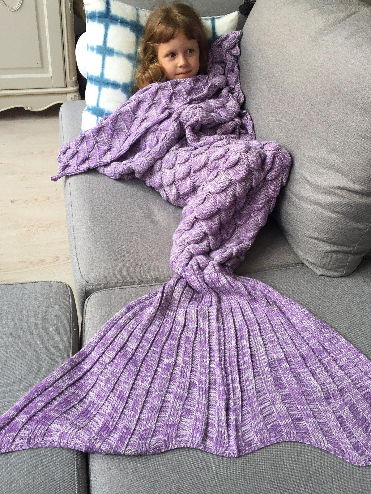 Knitted Fish Scales Design Wrap Mermaid Blanket and Throws For KidsHOME<br><br>Color: PURPLE; Type: Knitted; Material: Acrylic; Pattern Type: Stripe; Size(L*W)(CM): 150*80; Weight: 0.756kg; Package Contents: 1 x Blanket;