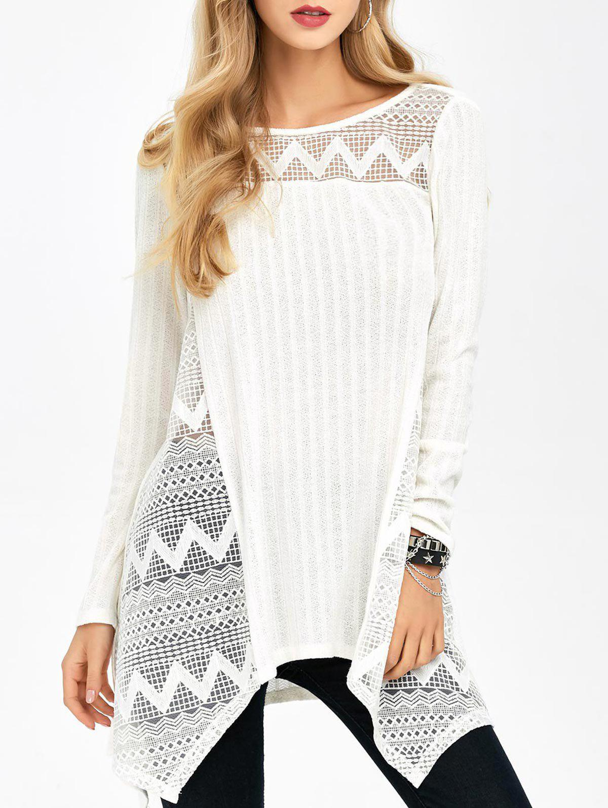 Unique Zigzag Trim Asymmetrical Knitwear