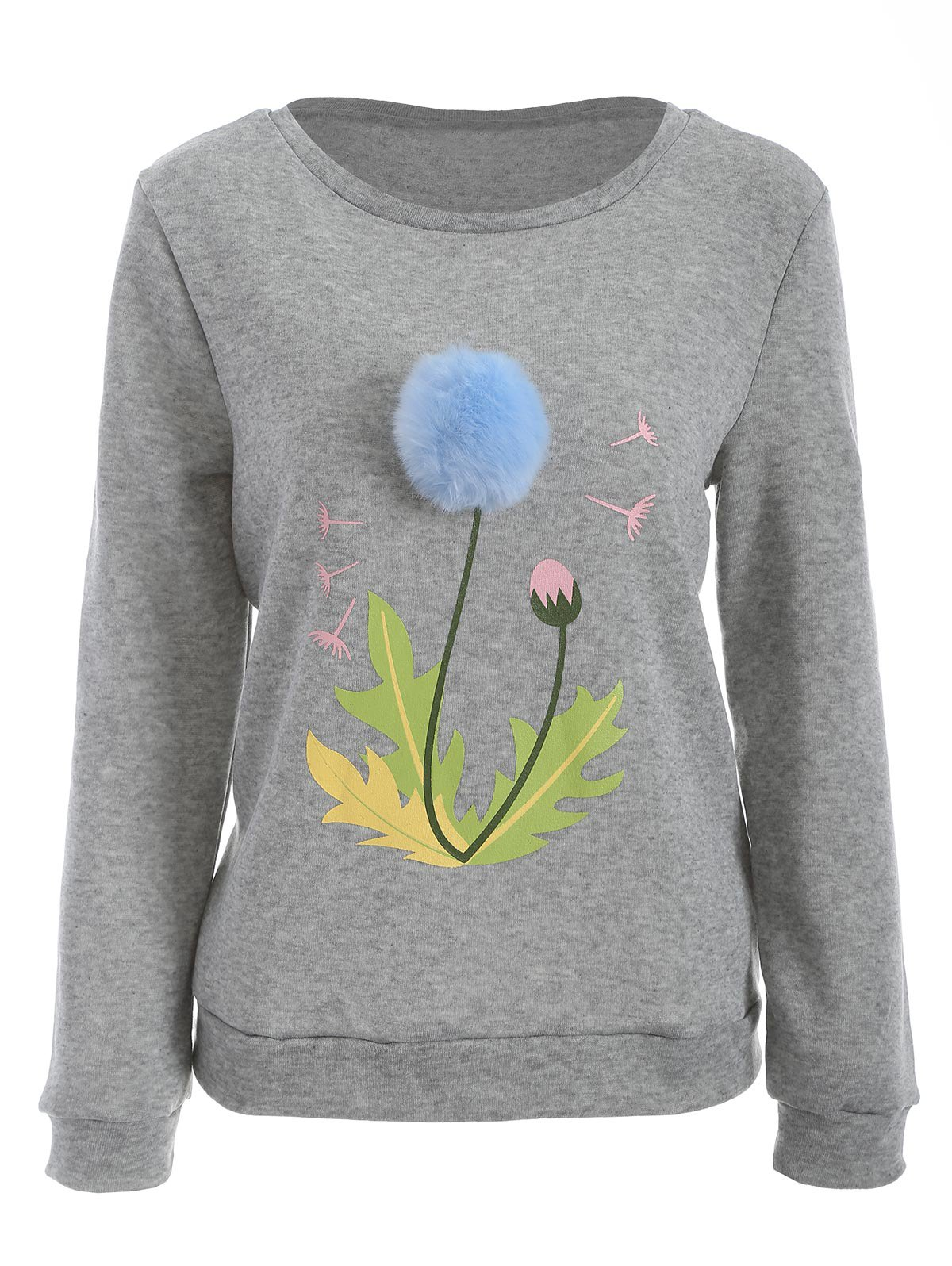 Unique Pom Ball Floral Print Sweatshirt