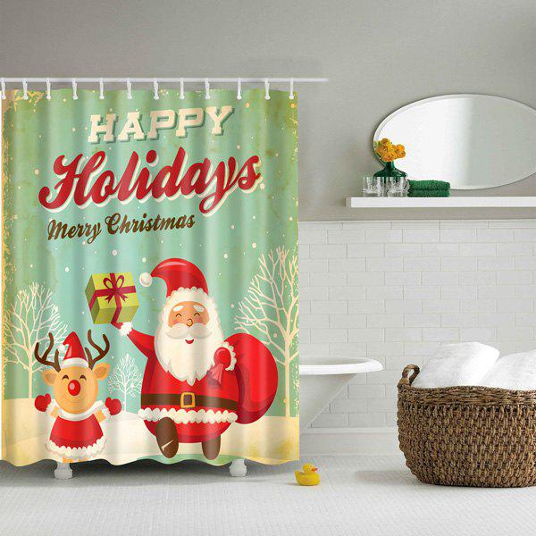 Christmas Santa Polyester Waterproof Bath Decor Shower CurtainHOME<br><br>Size: L; Color: GREEN; Type: Shower Curtains; Material: Polyester; Weight: 0.540kg; Package Contents: 1 x Shower Curtain;