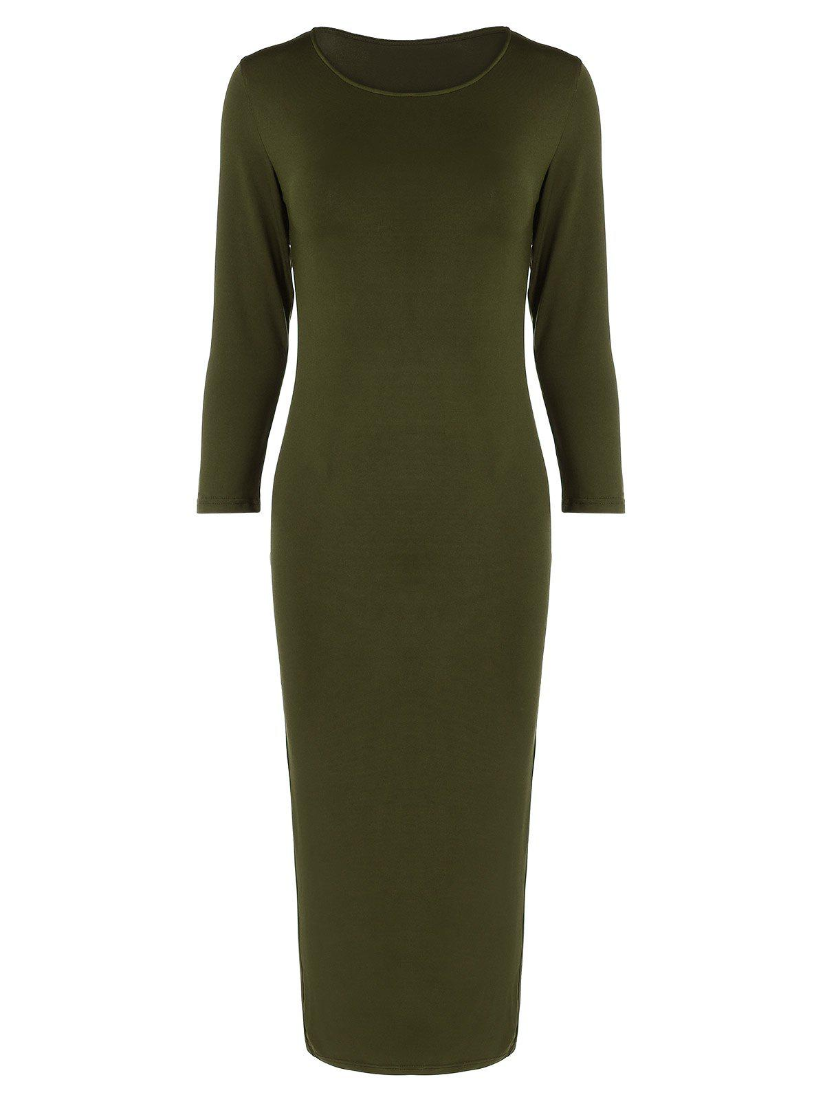 3c94287492cd Discount Long Sleeve Slim Fitted Midi Dress