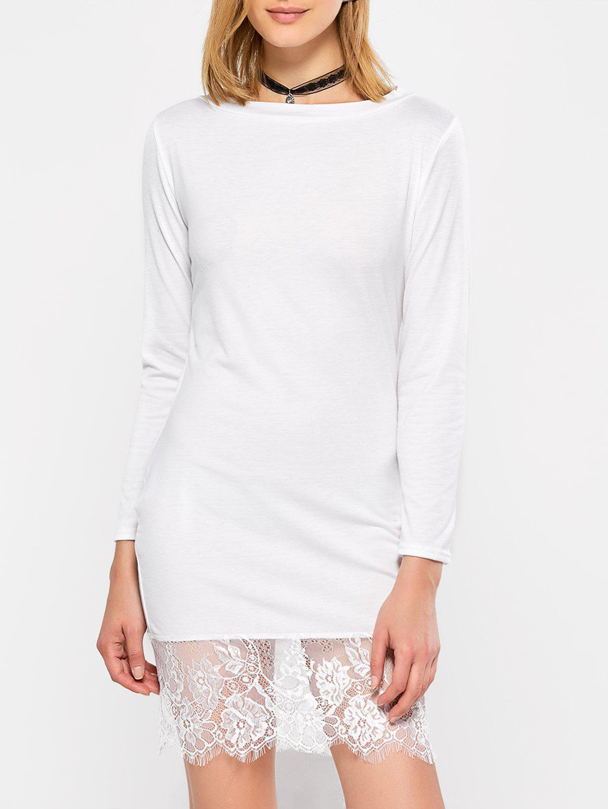 Outfit Lace Hem Long Sleeve Jersey T-shirt Dress