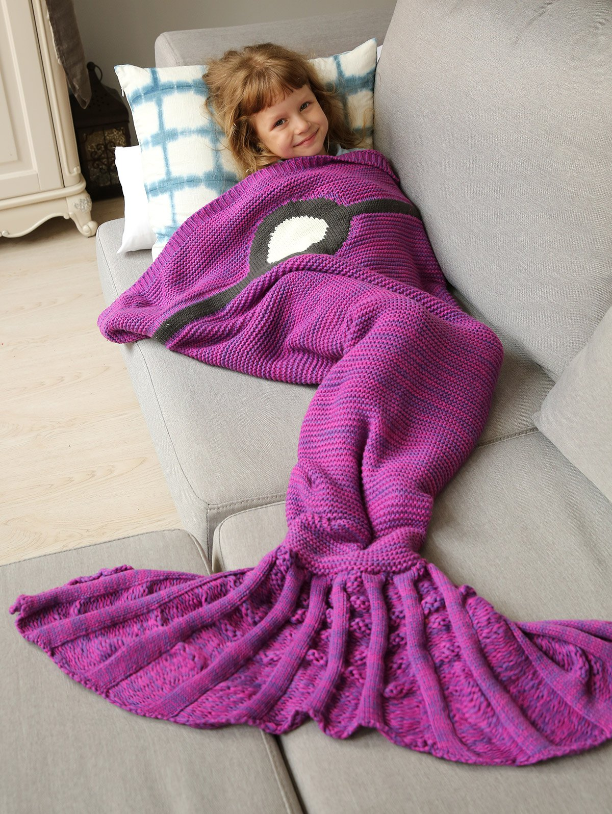 Fashion Winter Thicken Knitted Wrap Sofa Mermaid Blanket