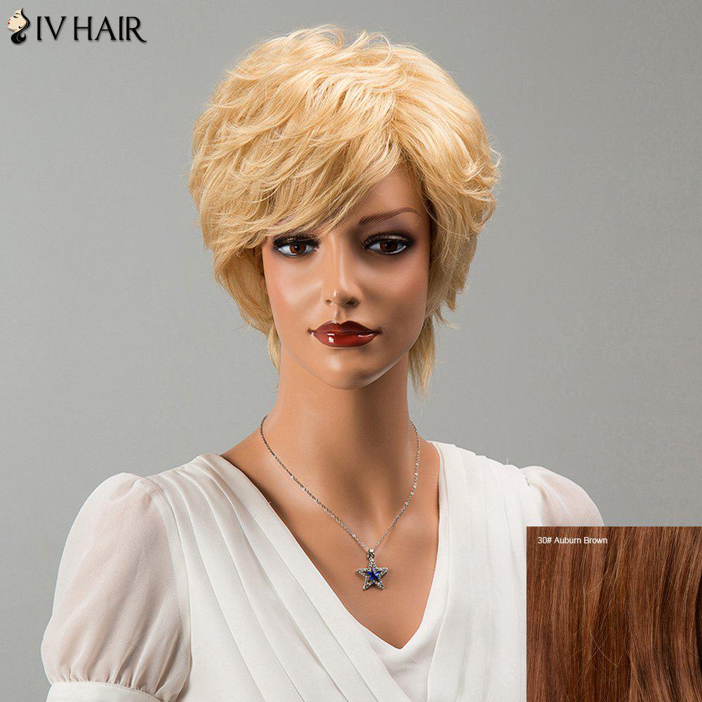 Fashion Siv Hair Short Side Bang Fluffy Slightly Curled Human Hair Wig