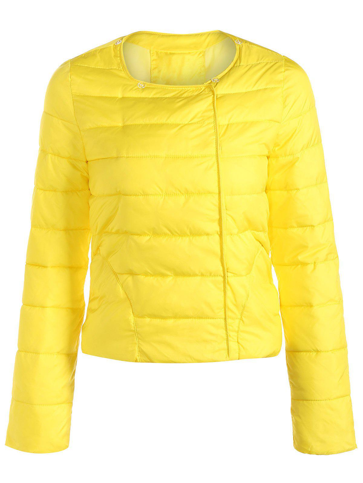 2018 Double Pocket Short Slim Quilted Jacket In Yellow Xl Rosegal