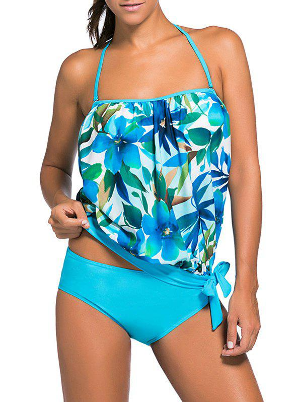Halter Floral Hawaiian Tankini with Padded BraWOMEN<br><br>Size: XL; Color: AZURE; Swimwear Type: Tankini; Gender: For Women; Material: Polyester; Bra Style: Padded; Support Type: Wire Free; Neckline: Halter; Pattern Type: Floral; Embellishment: Backless; Waist: Natural; Elasticity: Micro-elastic; Weight: 0.2500kg; Package Contents: 1 x Top  1 x Briefs;