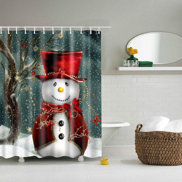 Christmas Snowman Mouldproof Waterproof Bathroom Shower CurtainHOME<br><br>Size: M; Color: COLORMIX; Type: Shower Curtains; Material: Polyester; Weight: 0.5400kg; Package Contents: 1 x Shower Curtain;