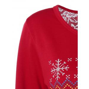 Back Slit Merry Christmas Print Sweatshirt - RED XL