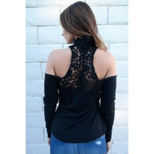 Stylish Stand-Up Collar Long Sleeve Hollow Out Women's Blouse - BLACK M