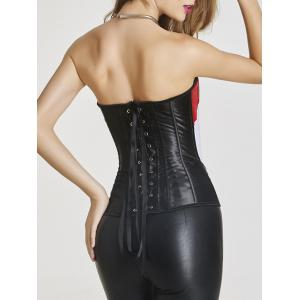 Steel Boned Color Block Zip Up Corset - BLACK AND WHITE AND RED 2XL
