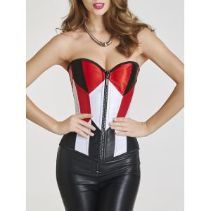 Steel Boned Color Block Zip Up Corset