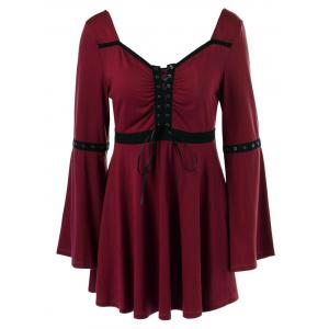 Lace-Up Flare Sleeve Peplum Blouse - Dark Red - M