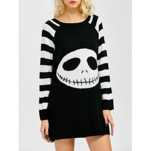 Stripes Ghost Pattern Tunic Shirt Sweater Dress