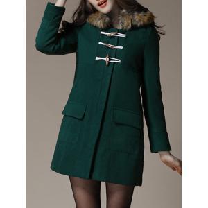 Faux Fur Trim Hooded Duffle Coat - Deep Green - Xl