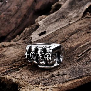 Clover Fake Gem Fist Shape Skull Ring -
