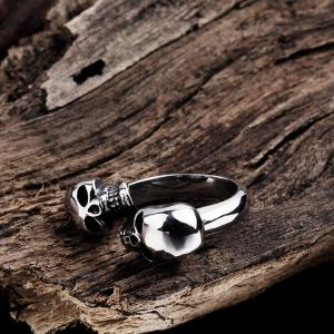 Double Skull Alloy Cuff Ring -