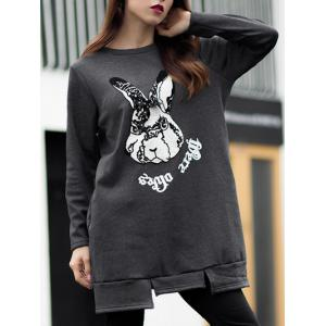 Flocking Bunny Pattern Embroidery Tee