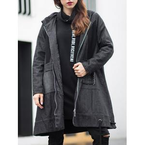 Hooded Big Pocket Design Denim Coat - Black - Xl