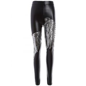 Skinny Sequins Wings Fleece Faux Leather Pants