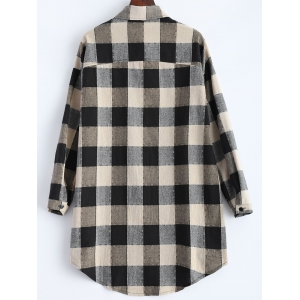 Button Up Asymmetric Plaid Casual Shirt - BLACK 5XL