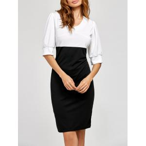 Half Sleeve Color Block Sheath Dress - Black - S