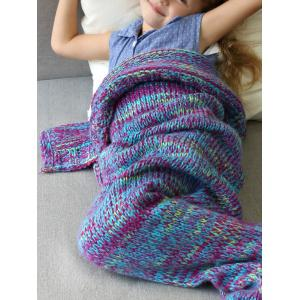 Warm and Soft Knitted Sofa Kids Mermaid Tail Blanket - PURPLE S