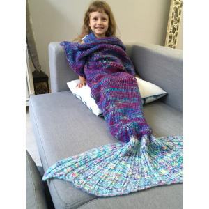 Warm and Soft Knitted Sofa Kids Mermaid Tail Blanket - BLUE M