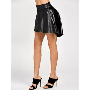 High Low Faux Leather Skirt - BLACK XL