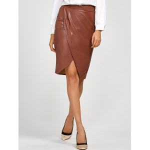 Slit Faux Leather Tulip Skirt